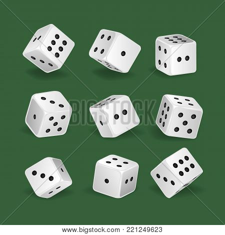 Set of realistic white dice. Gambling game, casino, dice. Hobbies, professional occupations. Collection different dice casino gambling, with random various numbers. Vector illustration isolated.