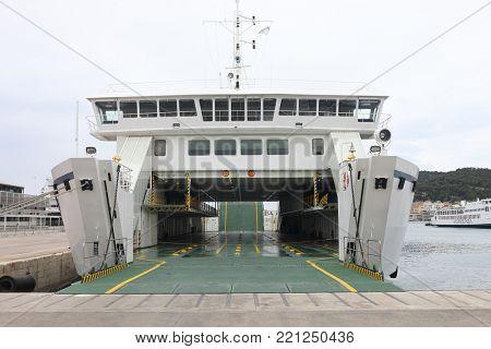 SPLIT, CROATIA - MAY 21, 2017: Large sea ferry Jadrolinija in the port city Split. Jadrolinija is Croatias largest ferry operator.