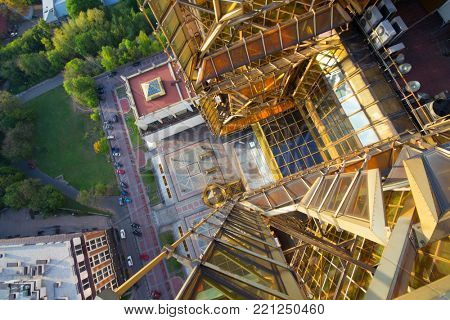 MOSCOW - SEP 18, 2014: Russian Academy of Sciences rooftop, building of Presidium of Russian Academy of Sciences was built more than twenty years since 1970s, led by Y Platonov