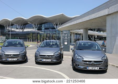 ZAGREB, CROATIA - MAY 19, 2017: Opel rental cars in front of the new airport in Zagreb