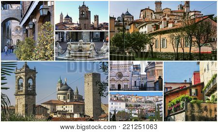 A collage of photos of the sights of Bergamo Italy.