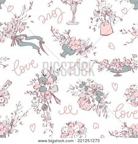 Vintage botanical detailed illustration flowers set. Hand drawing illustration. Flowers in a vase, flower arrangement, a bride bouquet, a wedding theme for an invitation or flower shop