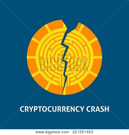 Crash Cryptocurrency Concept. Vector Illustration with Financial Coin.