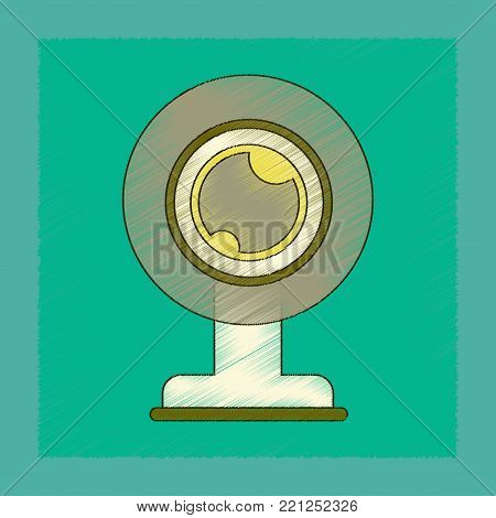 flat shading style icon of computer Webcam poster