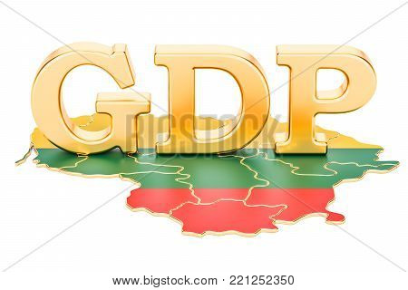 gross domestic product GDP of Lithuania concept, 3D rendering isolated on white background