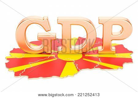 gross domestic product GDP of Macedonia concept, 3D rendering isolated on white background