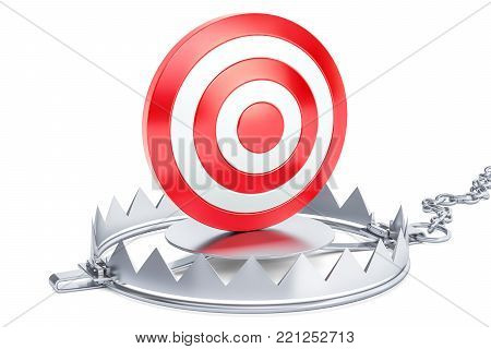 Target inside the trap. 3D rendering isolated on white background