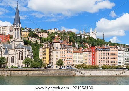 Lyon old town and the river saone, 17 July, Lyon, France
