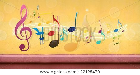 Music Notes On Concrete Wall (extra-wide Background)