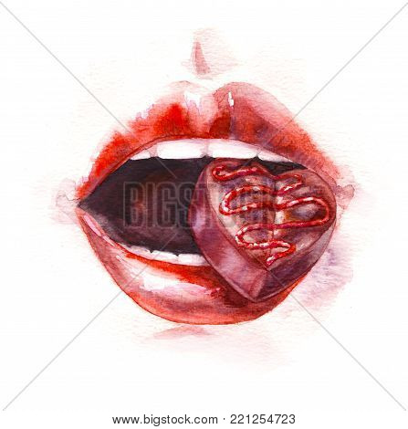 Hand drawn food illustration. Watercolor sketch female mouth with chocolate candy in teeth. Painting glossy red woman lips and sweet in heart shape isolated on white. Valentine day theme.