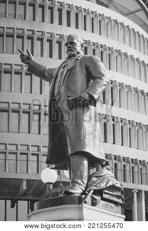 Wellington, New Zealand - 28 September, 2015: Statue of Richard John Seddon outside of Parliament buildings. Richard John Seddon sometimes known as King Dick, was the longest serving Prime Minister of New Zealand.