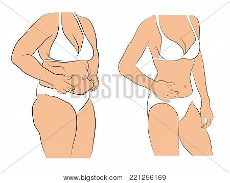 Woman with fat belly comparing with slim woman