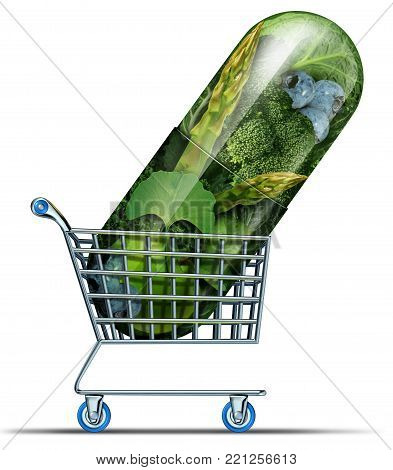Supplement shopping and homeopathy alternative medicine concept as natural herbal remedy medication market in a capsule in a shop cart as a 3D illustration.