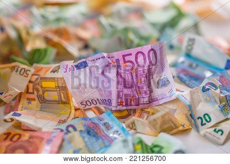 Euro Money Euro Banknotes Euro Currency. Lying Loose Euro Banknotes