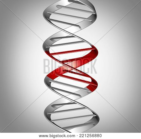 Genomic therapy and gene therapeutic treatment or genomic editing  or genetic manipulation,medical and scientific symbol as a DNA strand with edited parts as a 3D illustration.