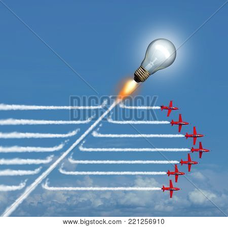 Disruptive idea concept and game changer business symbol and change innovation icon to be an independent thinker with new industry ideas as an individual light bulb breaking through a group of airplane smoke as a 3D illustration.