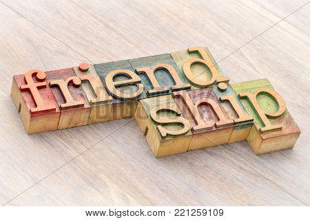 friendship word abstract in letterpress wood type printing blocks