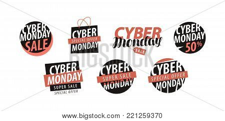 Cyber Monday logo or label. Sale, closeout, shopping set of icons. Vector illustration isolated on white background