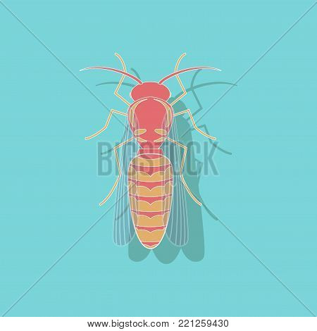 paper sticker on stylish background of wasp