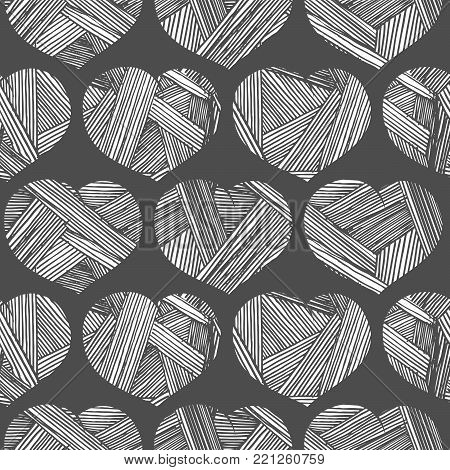Vector seamless retro pattern with hearts. illustration in vintage engraved style.                   hand, drawn, sketching, etching, ink, drawing, engraving, illustration, sketch, vector, grunge, vintage, retro, engraved, black-and-white,  Vector seamles