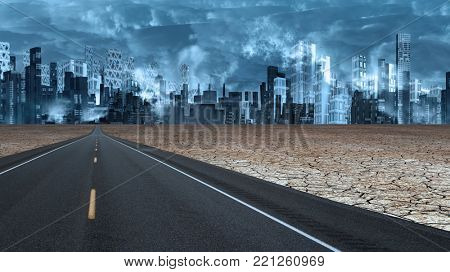 Desert road leads to futuristic city. 3D rendering