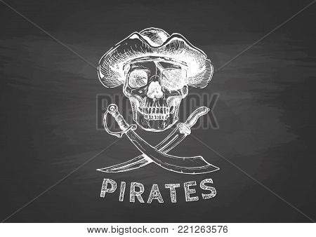 Jolly Roger. Pirate flag. Vector illustration of pirates skull with two cross swords in ink hand drawn style on black background.
