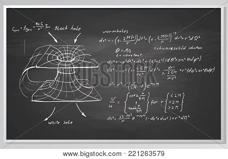 Black hole. Hand drawn formulas and graph on chalkboard.