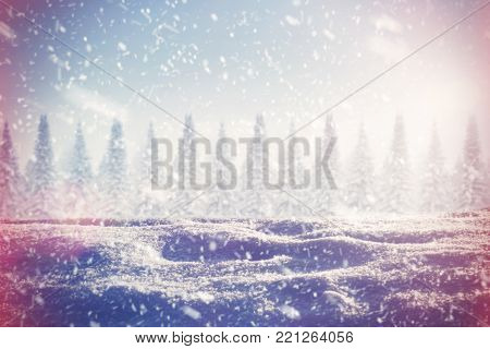 winter background, texture of the snow at sunset. snow cowered christmas trees on th bacground. instagram filter. retro and vintage effect