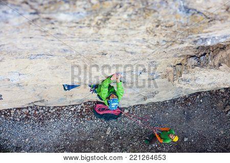 Girl Climber On A Rock