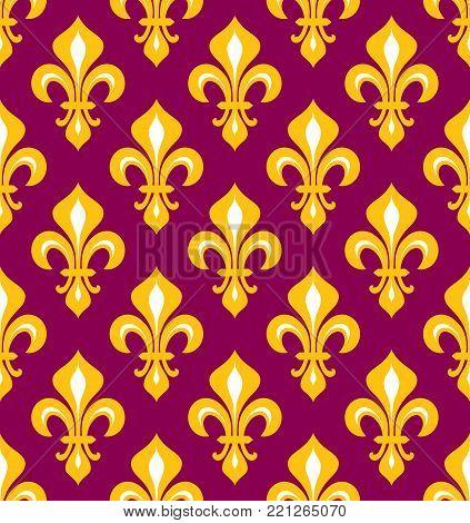 Royal heraldic Lilies (Fleur-de-lis) -- purple and gold, seamless pattern, wallpaper background.