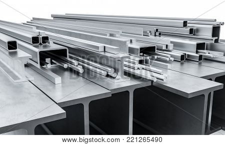 iron and steel pipe beam bar 3d rendering image