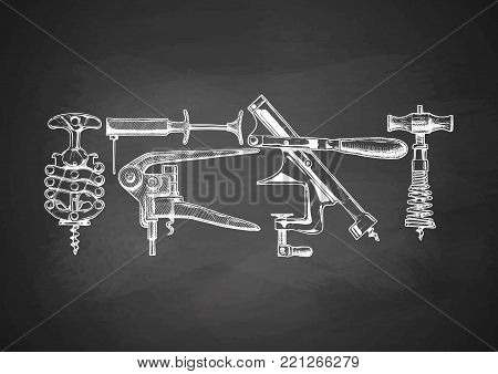 Vector corkscrew set drawn with chalk on blackboard. Types of corkscrews: zig-zag, vacuum corkscrew, lever-style corkscrew, mounted corkscrew, spring corkscrew. isolated on white.