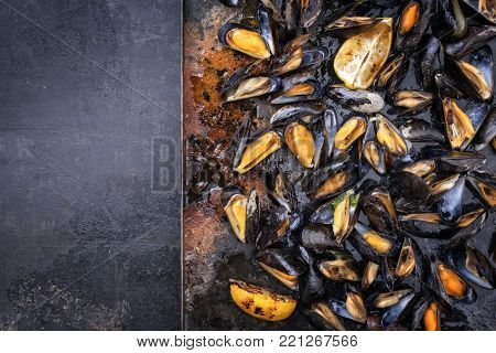 Traditional barbecue Italian blue mussel as top view on a metal sheet