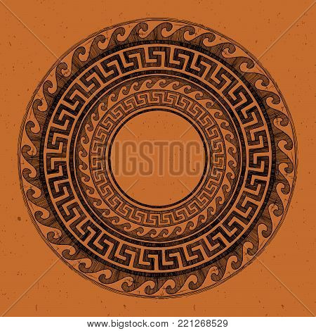 Round Greek ornament with meander and wave in black-figure pottery painting style.