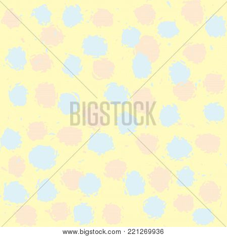 Cute pattern of blue and pink spots on yellow background. Vector seamless pattern