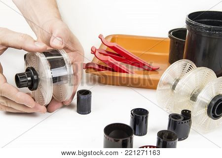 Old film tank developer with photo tools