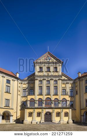 Nesvizh,Belarus-August 5,2017:  Inward Yard of Renowned Nesvizh Castle as an Example of Medieval Ages Heritage and Residence of the Radziwill Family in Nesvizh, August, 5, 2017, Belarus
