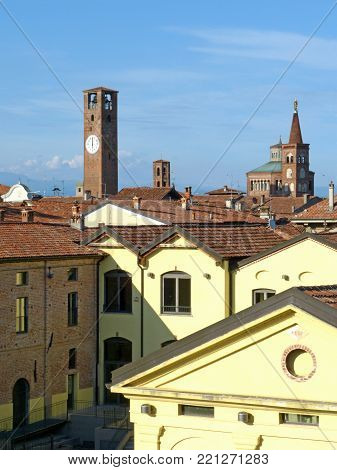 Panoramic view of the village of Soncino with the medieval tower and the church with the bell tower - Lombardy - Italy