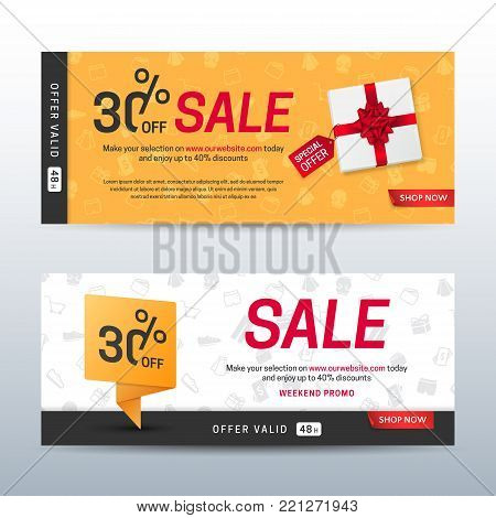 Set of modern sale banners with a gift box and a red bow. Vector layout of flyers for discount offers with pattern of shopping objects on the orange and white background. Isolated from the background.