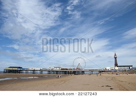 Central Pier And Blackpool Tower From The Beach