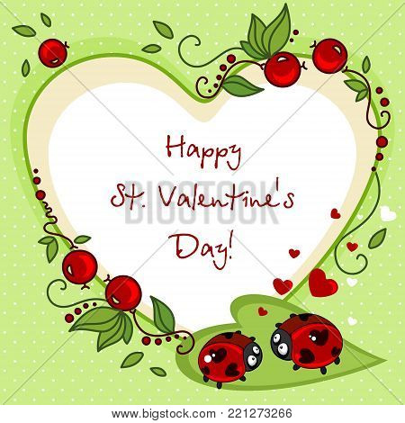 Design of cards for Valentine's Day in the form of a heart. Drawing two ladybirds with dots in the eyes of the hearth and a beautiful ornament around them.