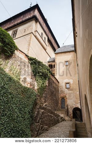 Entrance to Karlstejn. Gothic castle founded 1348 CE by Charles IV, Holy Roman Emperor-elect and King of Bohemia. Located in Karlstejn village, Czech Republic