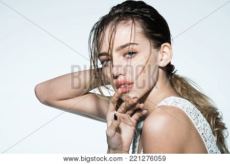 Shampoo And Lotion On Face Of Girl.