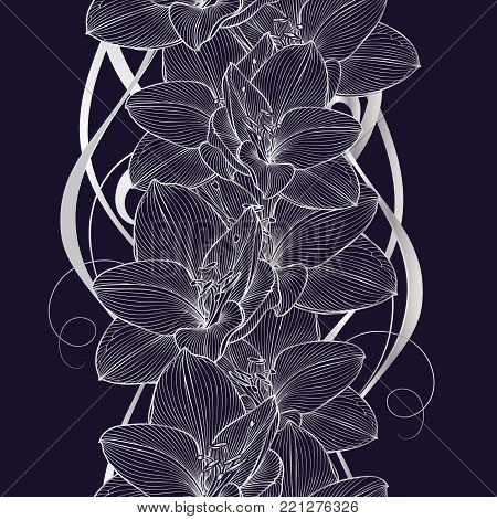 Silver seamless hand-drawing floral background with flower amaryllis. Vector illustration.