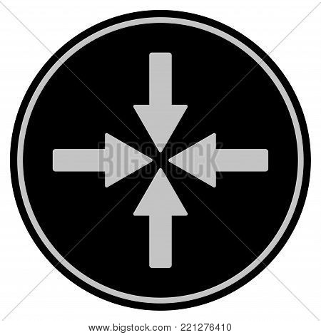 Collide Arrows black coin icon. Vector style is a flat coin symbol using black and light gray colors.
