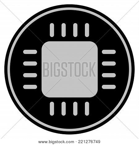 Cpu Chip black coin icon. Vector style is a flat coin symbol using black and light gray colors.