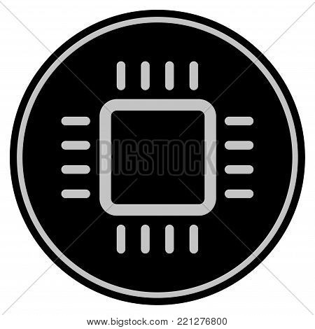 Cpu black coin icon. Vector style is a flat coin symbol using black and light gray colors.