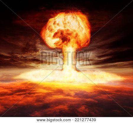 Atomic bomb explosion mushroom above the sky