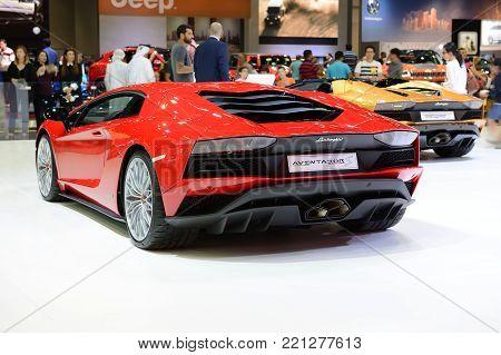 DUBAI, UAE - NOVEMBER 17: The Lamborghini Aventador S Coupe and Roadster sportscars is on Dubai Motor Show 2017 on November 17, 2017