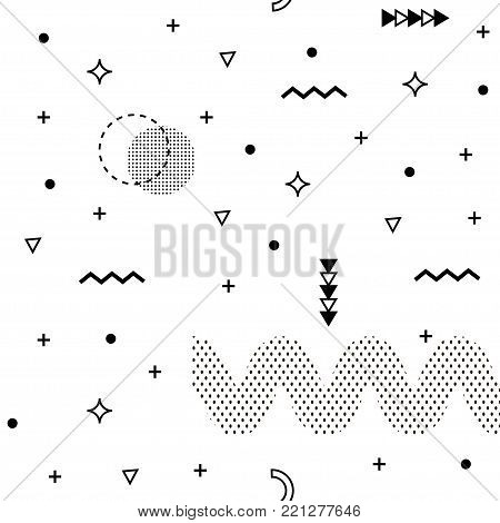 Seamless Memphis background. Abstract pattern fashion 80-90s. It can be used in printing, website background and fabric design.